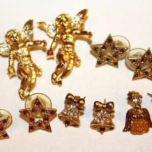 VTG Christmas Star Angel Holiday Earrings Lot